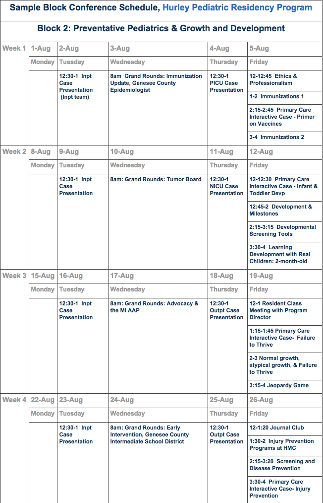 Pediatric Conference Schedule